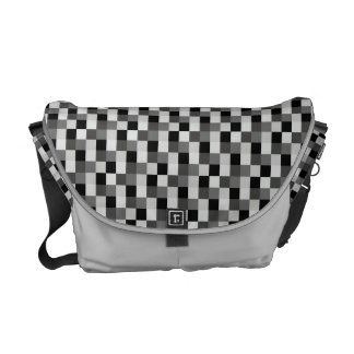 Abstract Mosaic Pattern Checkered Black Flag Courier Bags