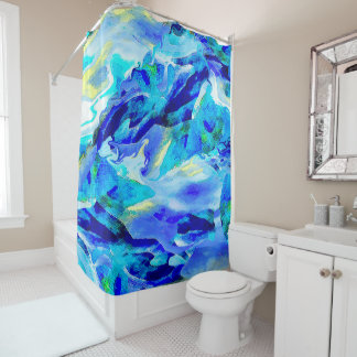 Abstract Mountain in Blue Shower Curtain