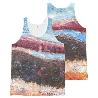 Abstract Mountainscape All-Over Print Singlet