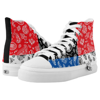 Abstract Multi Color Pattern Red, White, Blue, Blk High Tops
