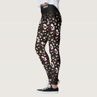 Abstract Multi Color Random Circles Pattern Leggings