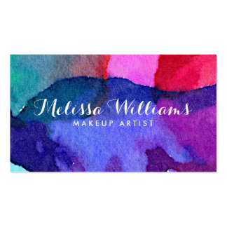 Abstract Multi-Colored Watercolors Makeup Artist Pack Of Standard Business Cards