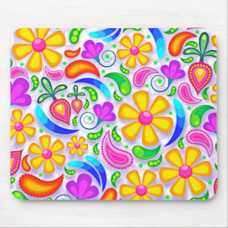 Abstract Multicolored Floral Pattern Mouse Pad