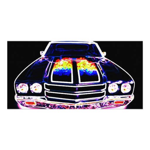 Abstract Muscle Car Photo Card