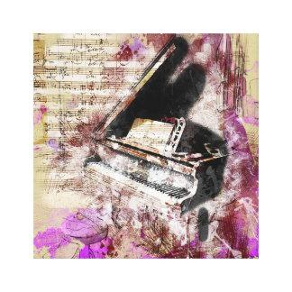 Abstract Music Piano Design Purple Canvas Wall Art