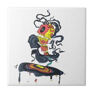 Abstract music speaker playing vinyl ceramic tile