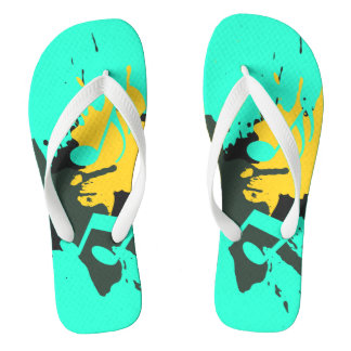 Abstract Musical Notes Flip Flops Thongs