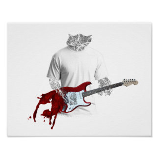 Abstract Musician Playing Melting Electric Guitar Poster