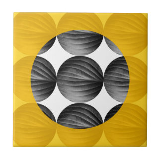 Abstract Mustard Yellow and Grey Ceramic Tile