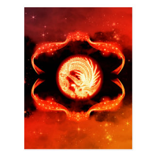 Abstract,mystical dragon sign postcard