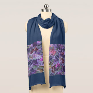 Abstract Nature Pattern Purple Leaves Scarf