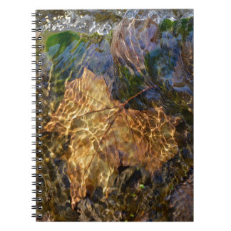 Abstract Nature Photography Leaf Under Water Spiral Notebook