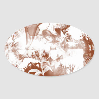 abstract nature oval sticker