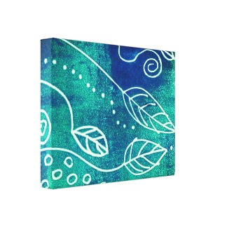 abstract nature  wall art  blue wrapped canvas