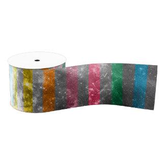 Abstract Nebula MultiColors Stripes Pattern Grosgrain Ribbon