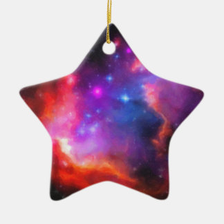 Abstract Nebula of Magellanic Cloud Ceramic Ornament