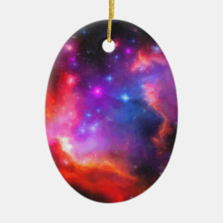 Abstract Nebula of Magellanic Cloud Ceramic Oval Decoration