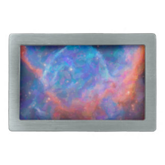 Abstract Nebulla with Galactic Cosmic Cloud 29 Rectangular Belt Buckle
