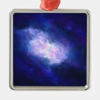 Abstract Nebulla with Galactic Cosmic Cloud 38 Silver-Colored Square Decoration