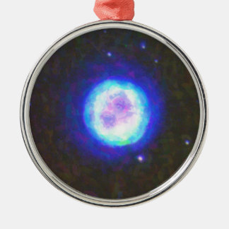 Abstract Nebulla with Galactic Cosmic Cloud 42 Sph Silver-Colored Round Decoration