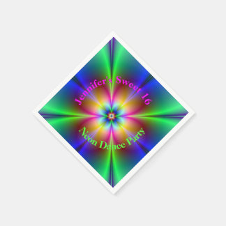Abstract Neon Flower Custom Party Paper Napkins