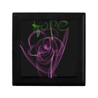"""Abstract Neon Pink Rose Green  """"Hope"""" Small Square Gift Box"""