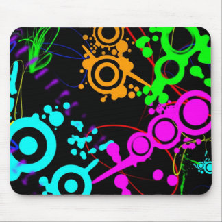 Abstract neon splatter modern Mouse Pad