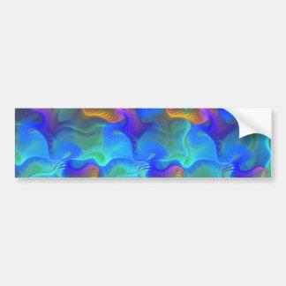 Abstract Neon Teal Blue Purple Fractal Pattern Bumper Sticker