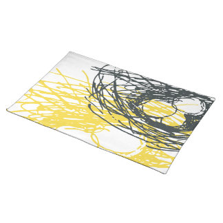 Abstract Nest Placemat in gray and yellow