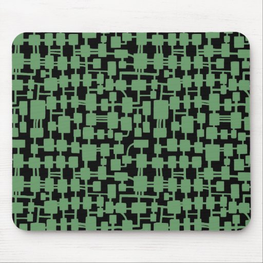 Abstract Network - Army Green on Black Mousepads