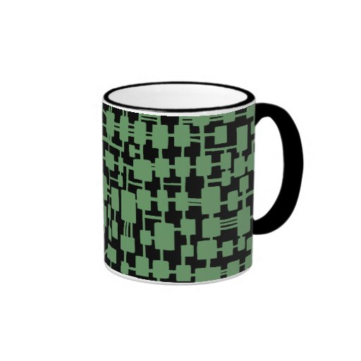 Abstract Network - Army Green on Black Coffee Mugs