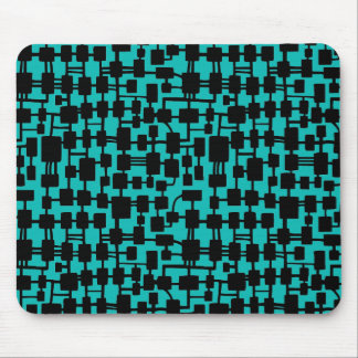 Abstract Network - Black on Aqua Blue 0ABAB5 Mouse Pad