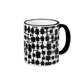 Abstract Network - Black on White Ringer Mug