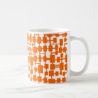 Abstract Network - Orange on White Basic White Mug