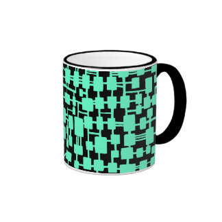 Abstract Network - Turquoise on Black Ringer Coffee Mug