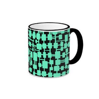 Abstract Network - Turquoise on Black Ringer Mug