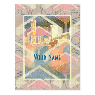 Abstract New York City Pastel Manhattan Bridge Postcard