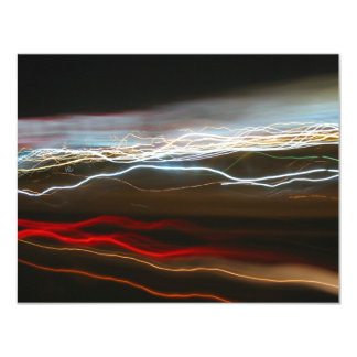 Abstract Night Time Light Trails Blur 11 Cm X 14 Cm Invitation Card
