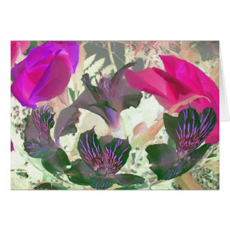 Abstract of flowers in a bowl with pink and green card