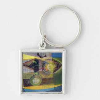 Abstract of Landscape Buenos Aires 22x17.25 Silver-Colored Square Key Ring