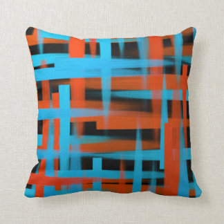 Abstract oil brush strokes in orange and blue cushion