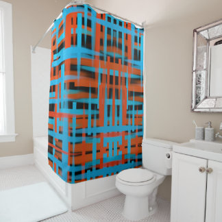 Abstract oil brush strokes in orange and blue shower curtain