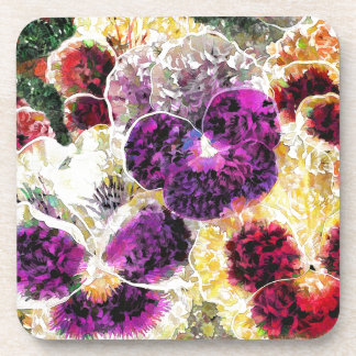 Abstract Oil Painting Pansy Flowers Drink Coaster