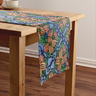 Abstract Orange And Blue Floral Pattern Short Table Runner
