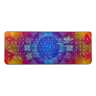 Abstract Orange and blue sun shapes Wireless Keyboard