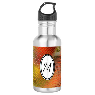 Abstract Orange and Yellow Spiral Dots Monogram 532 Ml Water Bottle