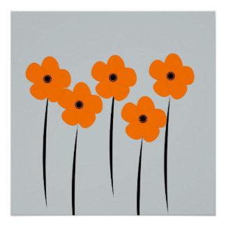Abstract Orange Anemones Flowers Poster