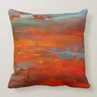 Abstract Orange Blue Sunset Beach Scene Pillow