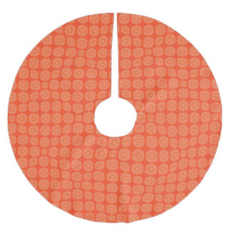 Abstract Orange Brushed Polyester Tree Skirt
