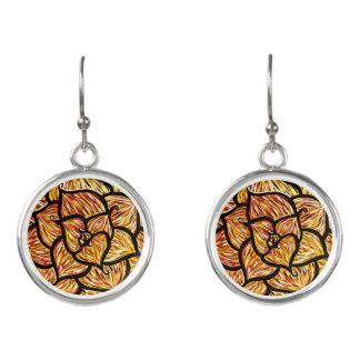 Abstract  Orange Flower Earrings